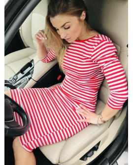 Sukienka BASIC STRIPES red